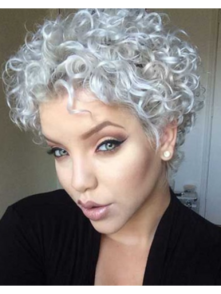 Short Synthetic Hair Curly Grey Wig Without Bangs