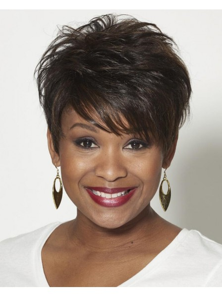 Choppy 100% Human Hair Pixie Wig With Wavy Layers And Flirty Fringe