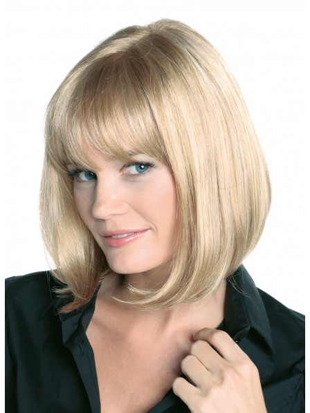 Classic Blonde Chin Length Bob Real Hair Wig with Full Bangs