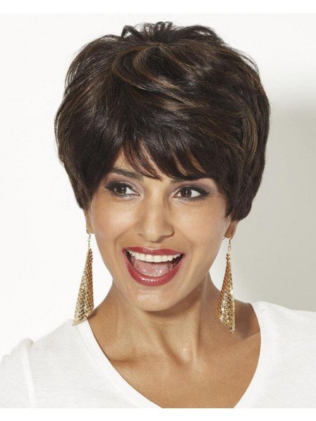 Cute Human Hair Pixie Wig With Wavy Layers And A Tapered Back
