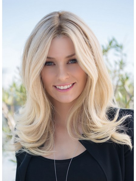 New Medium Blonde Lace Front Human Hair Wigs For Ladies