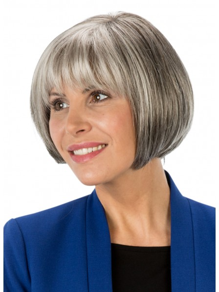 Classic Chin Length Salt and Pepper Bob Wig with Full Bangs