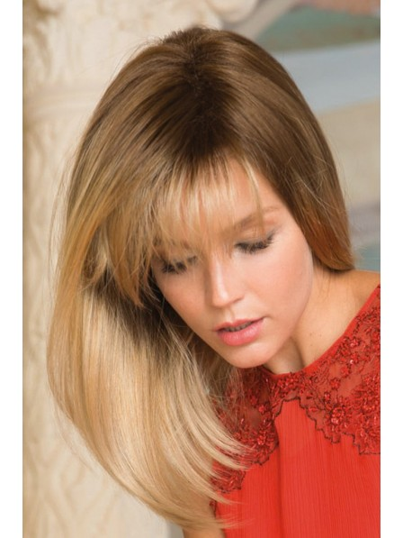 Collar Bone Straight Length Synthetic Wig With Flowing Fringe