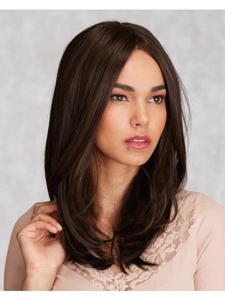 Fashion Dark Brown Medium Lace Front Mono Top Human Hair Wig