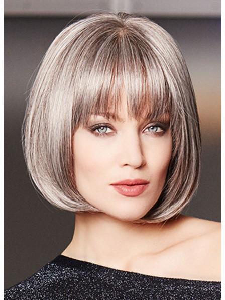 Lace Front Mono Top Sleek Grey Bob Wig Natural Look