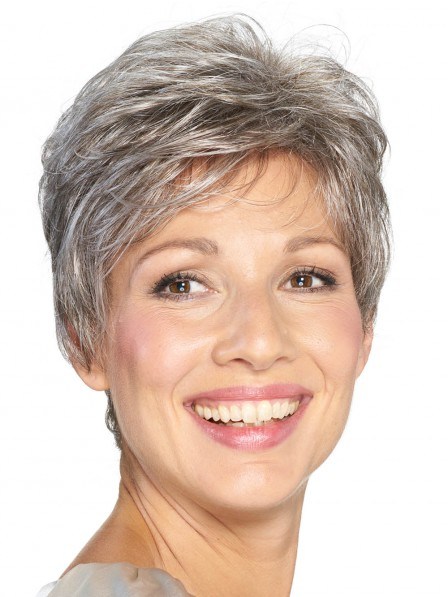 Ladies Pixie Cut Grey Wig Lace Front Mono Top New Arrival