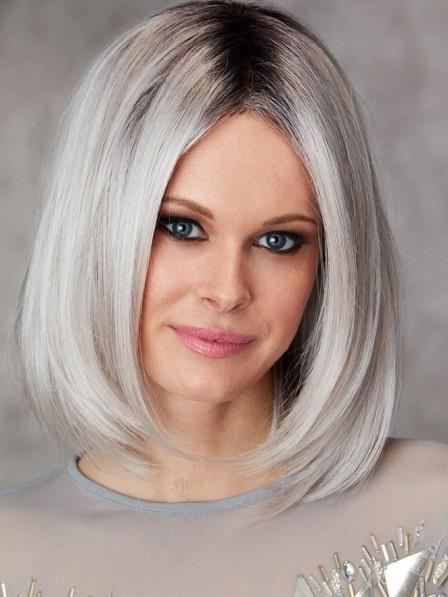 New Fabulous Medium Ladies Grey Bob Hair Wigs