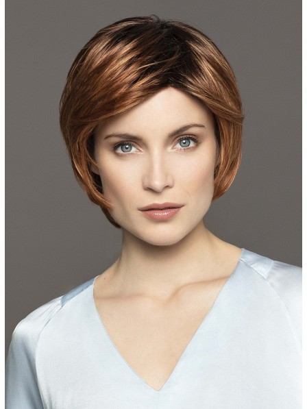 Elegant Lace Front Short Straight Human Hair Wig With Bangs
