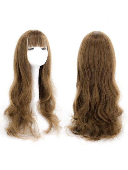 Natural Health Lace Front Long Wavy Human Hair Wigs for Ladies