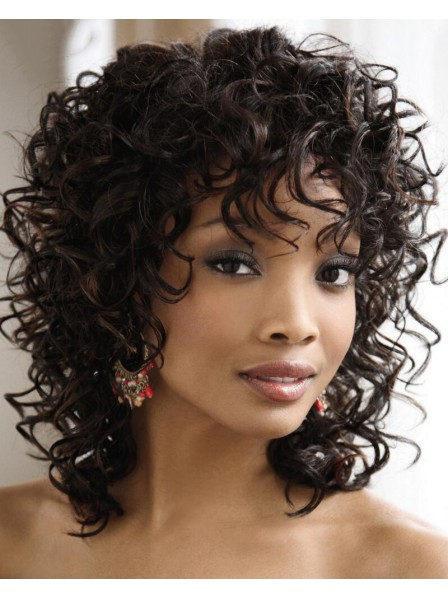 Unique Capless Curly Shoulder Length African American Wig