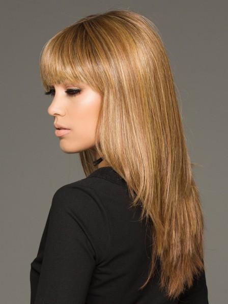 Trendy Blonde Long Sleek Women Straight Wig With Full Bangs