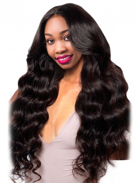 Brazilian Body Wave Human Hair Wigs With Baby Hair Natural Black