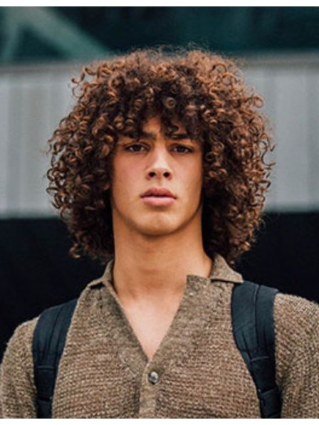 Curls Synthetic Capless Hair Men Wig With Bangs