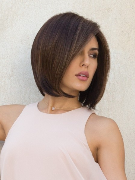 Dark Brown Bob Style Lace Front Monofilament Synthetic Hair Wig