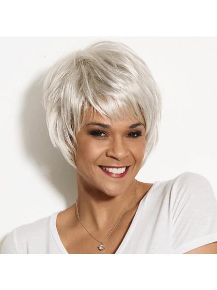 Trendy Short Grey Wig With Feathery Piecey Razor-Cut Layers