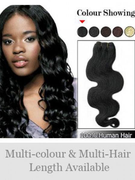 Popular Wavy Black 100% Human Hair Weft Hair Extensions