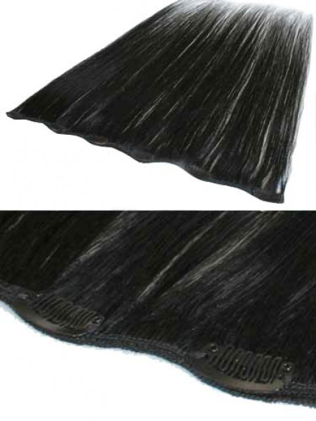 Straight Black All Length Clip In Synthetic Hair Extensions