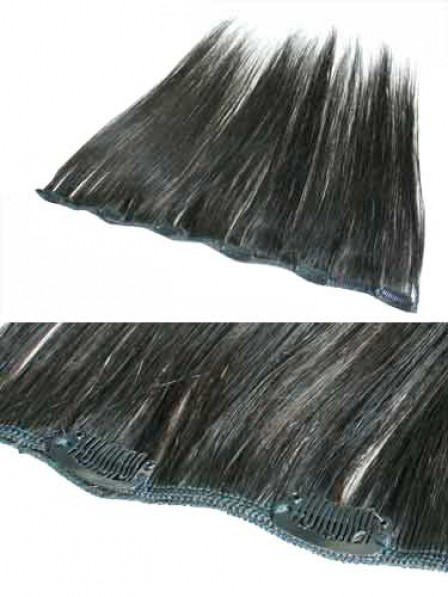 Black All Length  100% Human Hair Clip In Hair Extensions