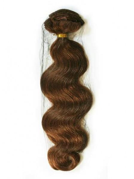 Ladies Wavy Auburn 100% Human Hair Weft Hair Extensions