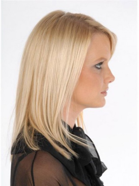 Easy Wear Straight Blonde Human Hair Clip In Hair Hairpieces