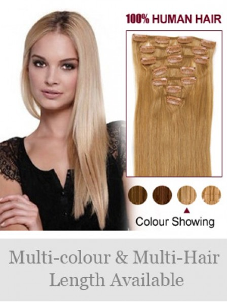 Straight Blonde 100% Human Hair Clip In Hair Extensions