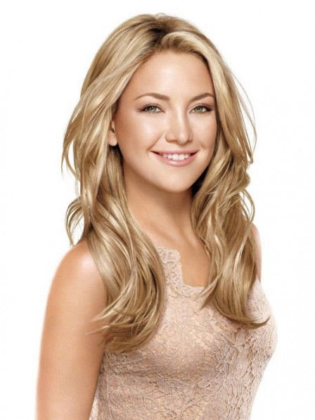 Elegant Long Blonde Wavy Synthetic Lace Front  Wigs