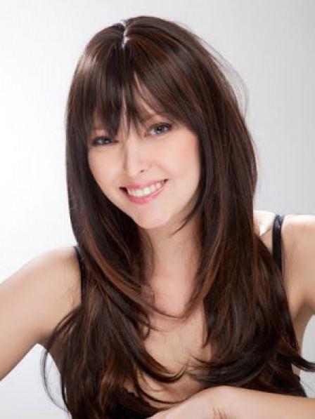 Elegant Long Wavy 100% Human Hair Wigs Top Quality