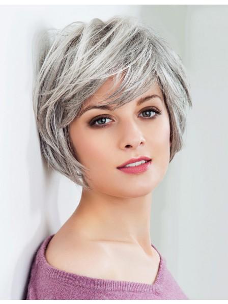 Fashion Chin Length Ladies Grey Hair Wig