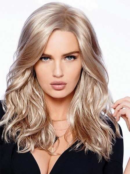 Fashion Long Look Wavy Lace Front Blonde Wigs