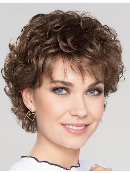Fashion Natural Curly Short Brown Wig for Women