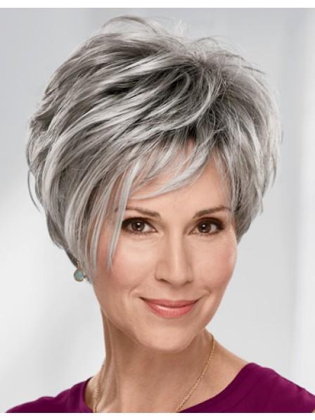 Fashion Older Ladies Short Grey Hair Wigs Online Sell