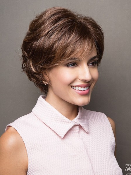 Nice Ladies Fashion Synthetic Short Brown Wavy Hair Wig