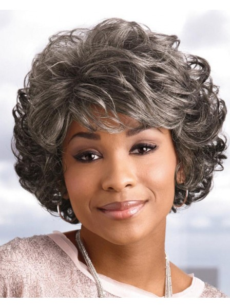 Gorgeous Short Black Women Wig With Classic Layered Waves For Chemo