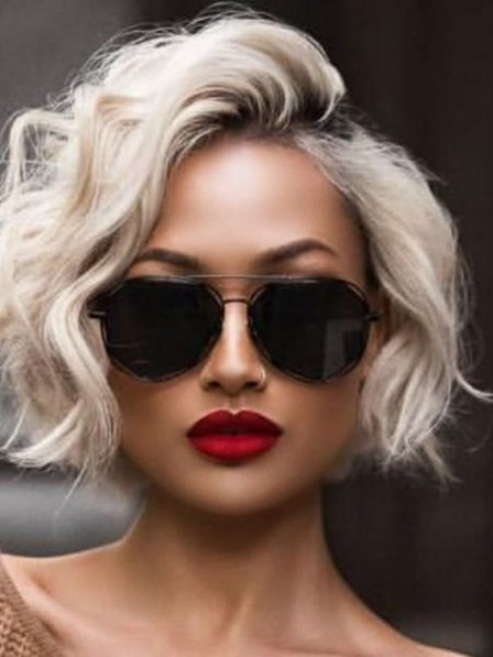 Hot Sale Lace Front Short Curly 100% Grey Wigs 2019