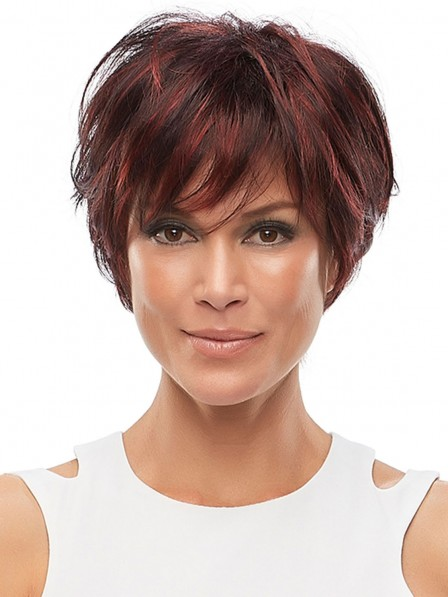 Short Layered Synthetic Lace Front Mono Wig