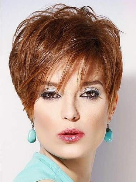 Layered Lace Front Monofilament Pixie Cut Wigs Real Hair For Ladies