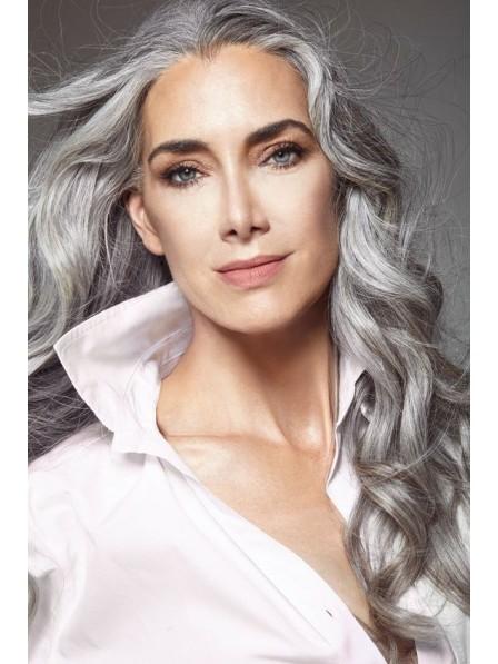 Long Body Wavy Silver Grey Wigs Lace Front
