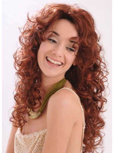 Popular Long Curly Synthetic Red 3/4 Capless Wigs