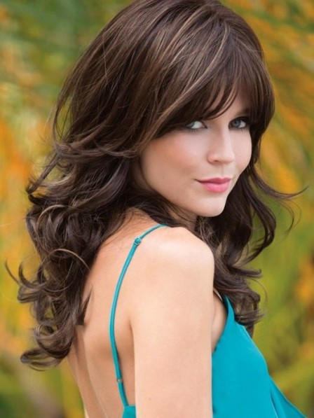 Shop Long Soft Wave Women Brown Wig with Full Bangs