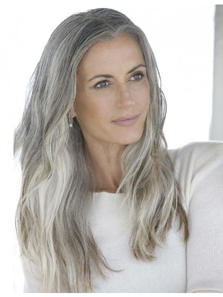 Long Straight Lace Front Silver Grey Hair Wig
