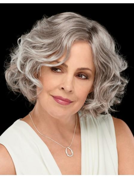 Medium Wavy Bob Style Hair Wig For Older Lady