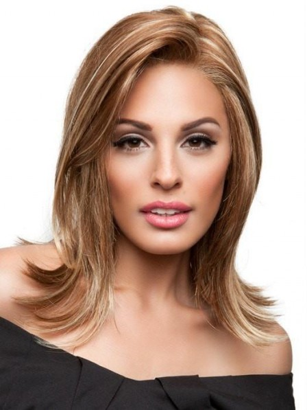 Women's Mid-Length Synthetic Lace Front Wig with Adjustable Strap