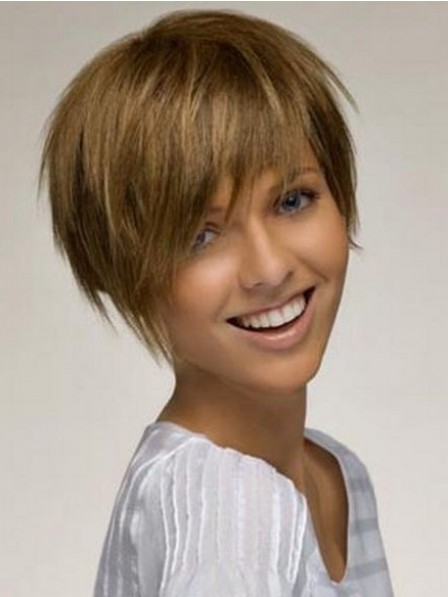 Modern Short Straight 100% Human Hair Lace Front Wigs