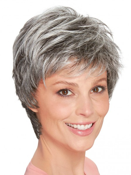 Mono Top Hand Tied Lace Front Synthetic Wigs For Old Ladies