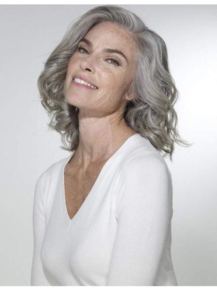 Natural Wavy Shoulder Length Ladies Grey Hair Wig