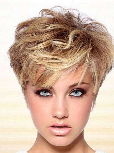 New Layered Lace Front Short Wavy Human Hair Wigs With Bangs