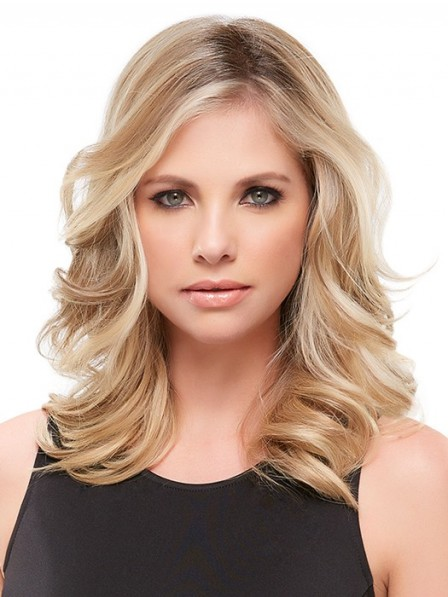 """16"""" Wavy Blonde 100% Human Hair Mono Hair Pieces for Perfect Fit"""