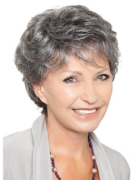 Grey Short Wavy Synthetic Wigs
