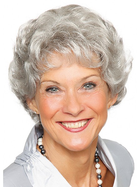 Hot Sale Grey Short Wavy Capless Synthetic Wigs