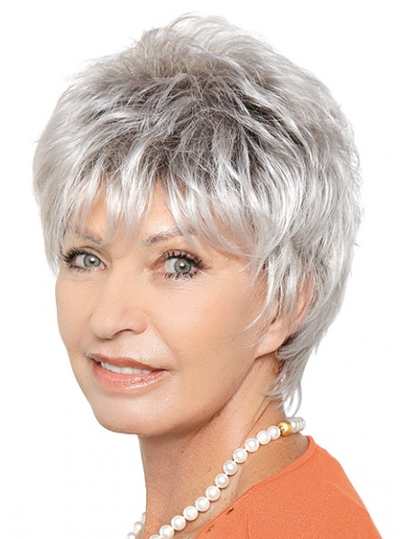Chic Grey Short Layered Capless Synthetic Wigs